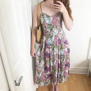 Romantic Vintage Handmade Floral Print Midi Dress